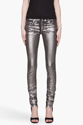 R13 Metallic Painted Skinny Jeans