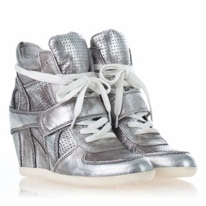 Ash Bowie Ter Wedge Sneaker, Silver Metallic