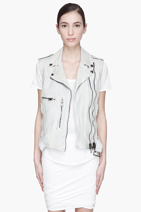 R13 off-white distressed leather moto vest