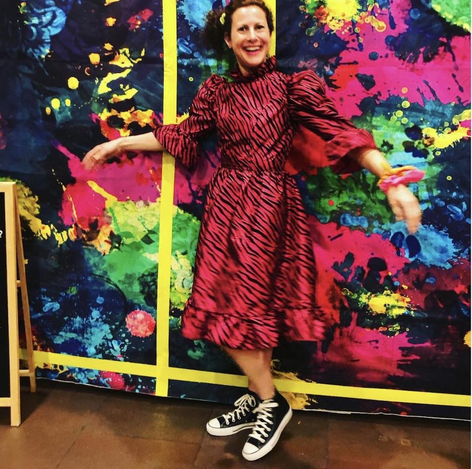 Dara's '80's inspired Zebra Print Batsheva Dress